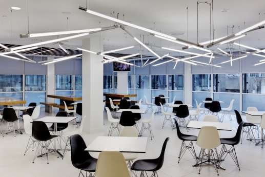 Staff cafeteria with modern lighting