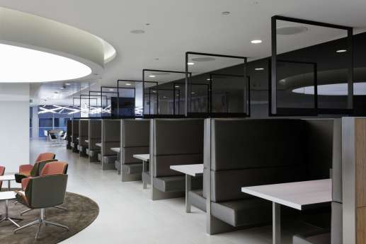 London office with private booth seating