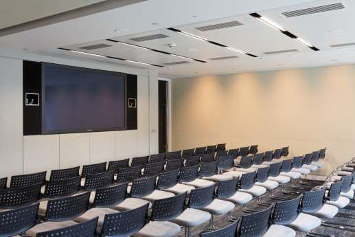 Seminar room with tiered seating in London office