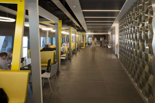 Yellow accents in London office design