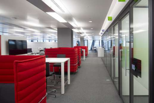 Red private booth rooms in modern office