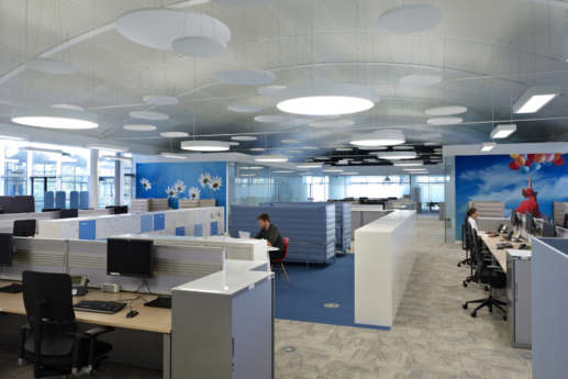 Modern office fit out with feature lighting