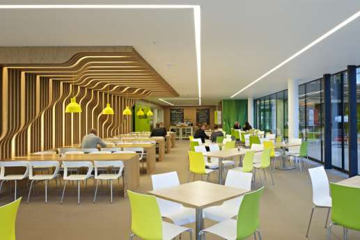 Office cafeteria with feature wooden wall design