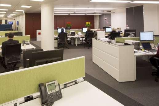 Workstations in open plan office