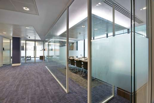 Open plan office fit out with frosted glass meeting room walls