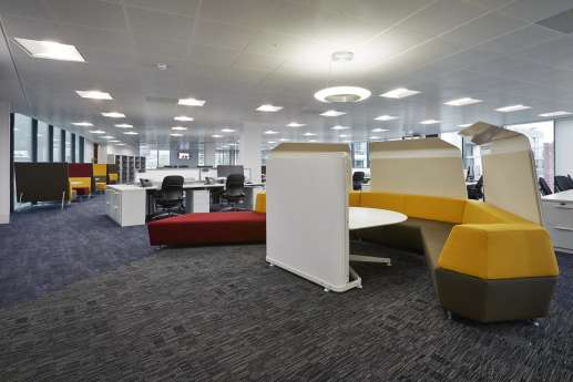 Colourful breakout seating in Bristol office fit out