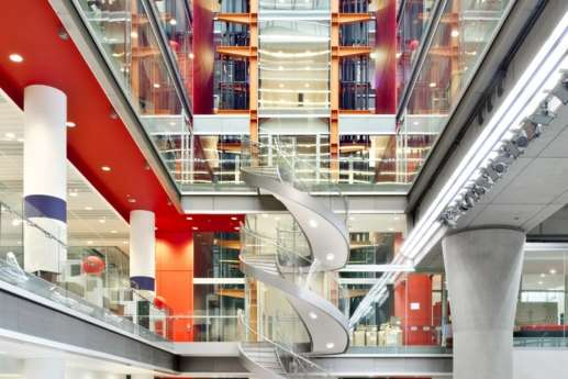 Spiral staircase in open plan office fit out