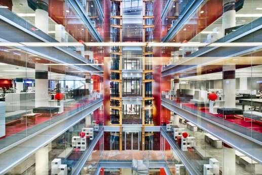 View through building atrium looking across office floors