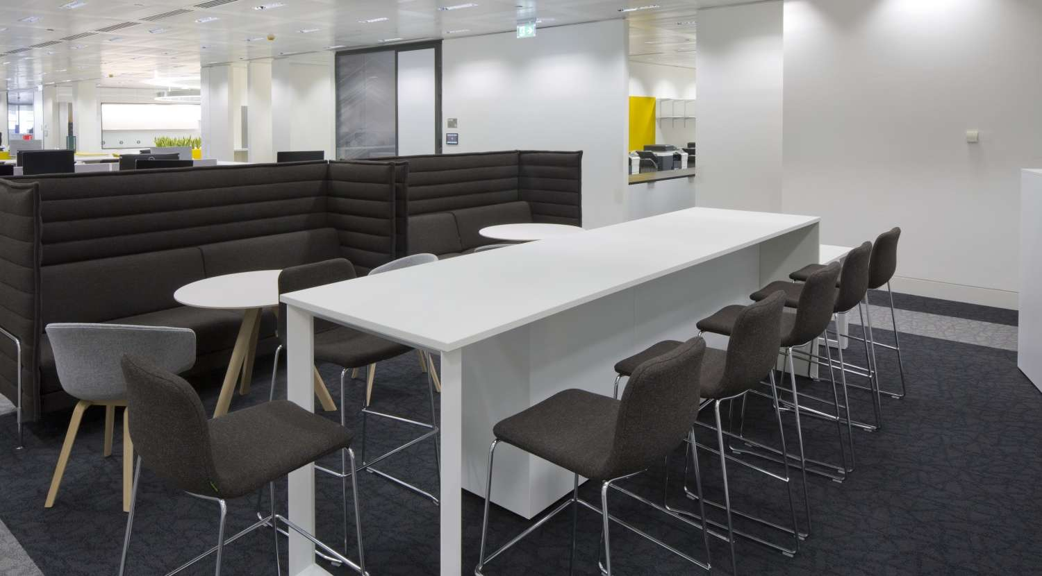 High seating area and table in modern office