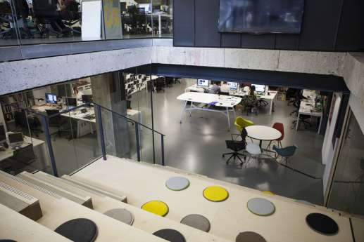 Tiered atrium seating in modern office fit out