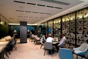 Stylish staff breakout area in modern London office fit out