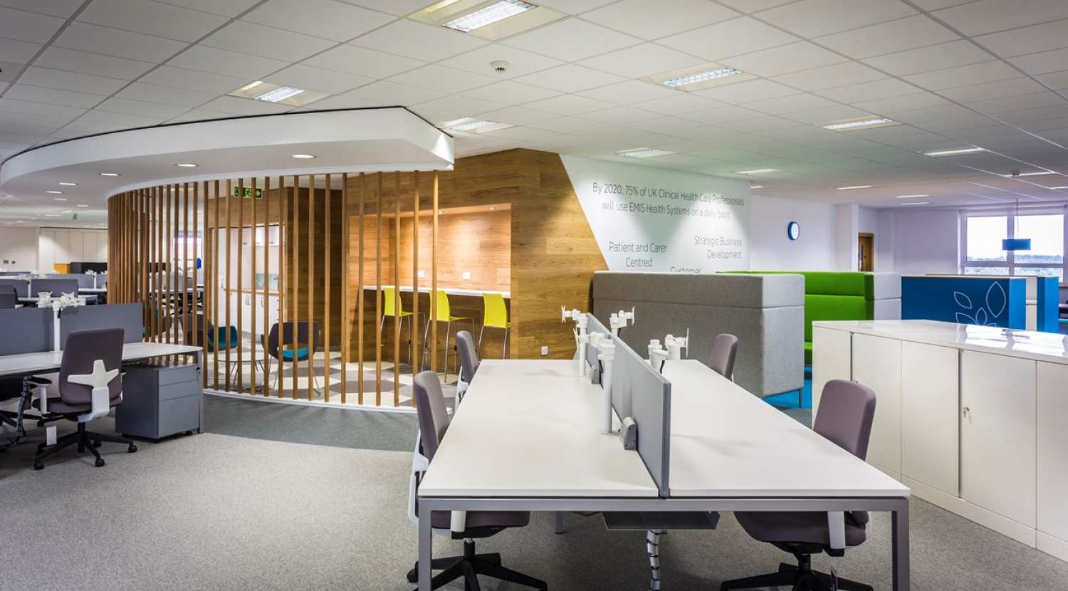 Office design and build for emis health overbury for Office design wellbeing