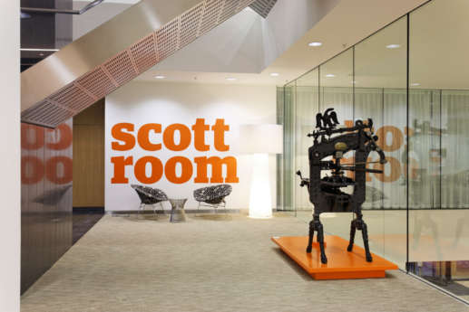 Modern office with modern art pieces