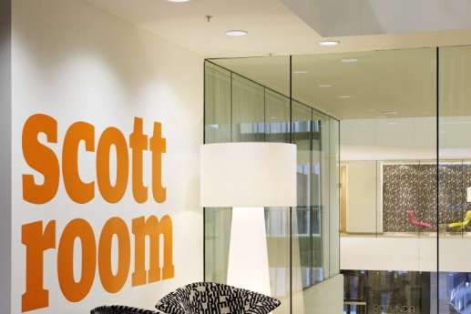 Colourful typography in modern office fit out