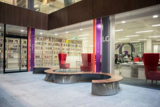 Curved seating in Hachette office entrance