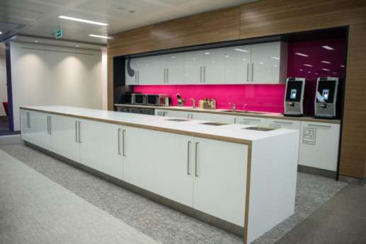 White kitchen in modern london office fit out