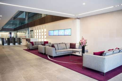 Relaxed sofas in an open plan london office reception