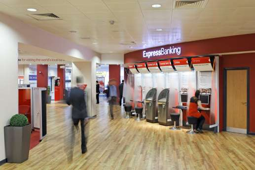 Cash machines in retail bank branch