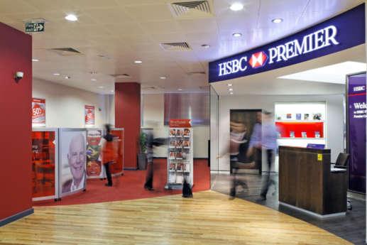 Interior of HSBC bank branch
