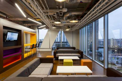 Office fit out with funky colourful furniture