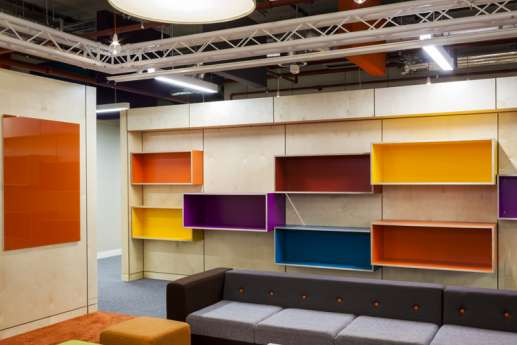 Office fit out with colourful storage spaces