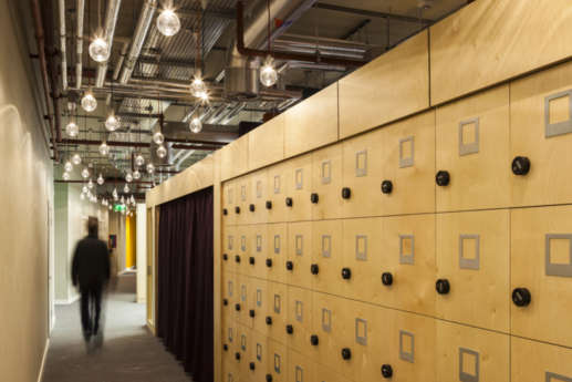Fit out with suspended lightbulbs and staff lockers