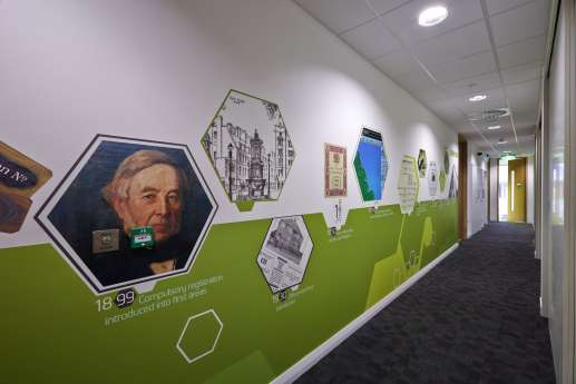 Colourful wall graphics in Nottingham office fit out