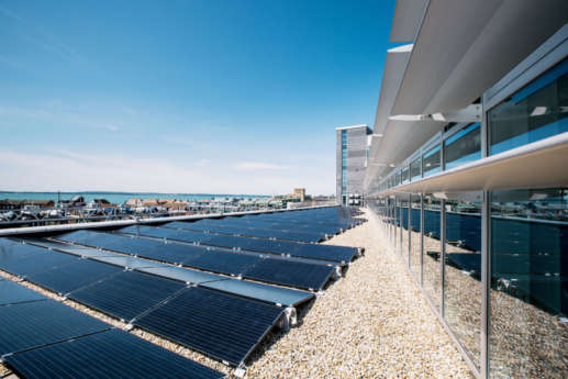 Solar panels enhance the sustainability credentials of this green office fit out