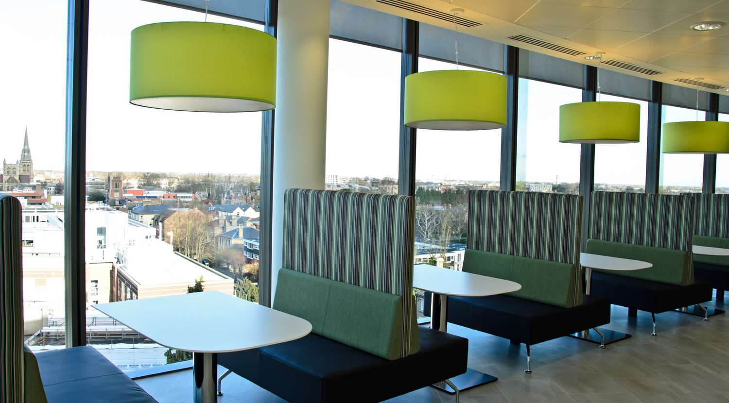 Office dining area looking over Cambridge