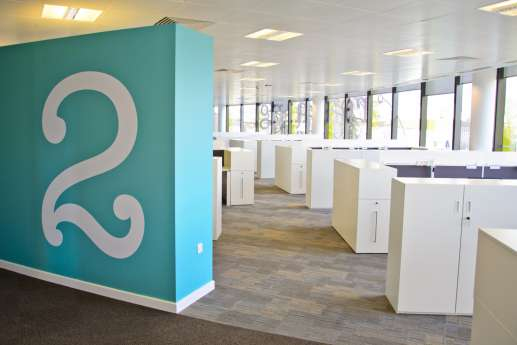 Modern office fit out with blue wall