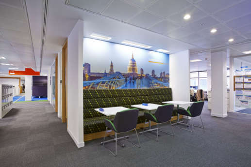 Funky booth seating with a large wall graphic in a modern open plan office fit out