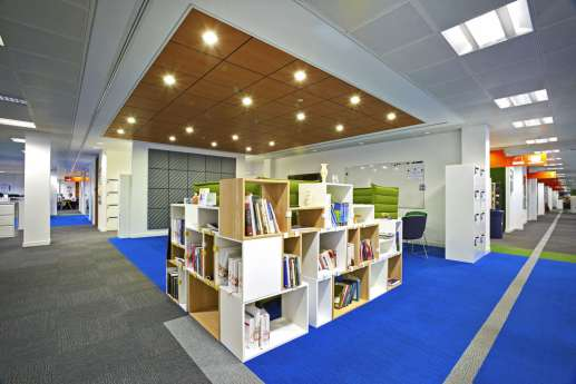 Modular bookcases in funky warwick office fit out