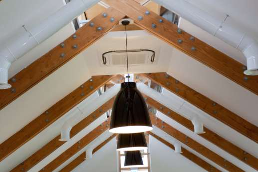 Light fittings in loft style office fit out
