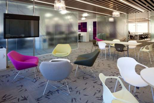 Coloured seats in modern office fit out