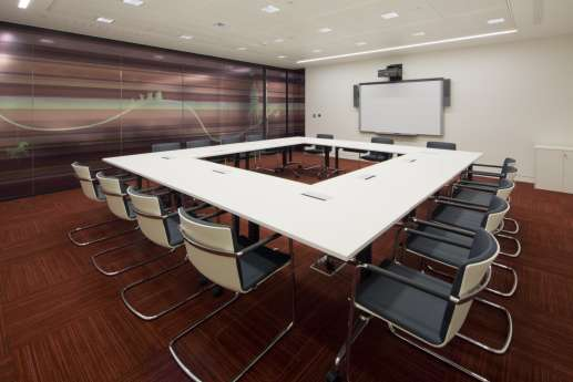 Square boardroom with modern finishings
