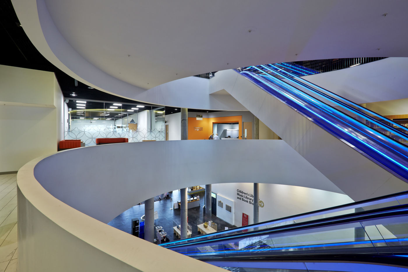 Library mezzanine level looking into Languages Centre
