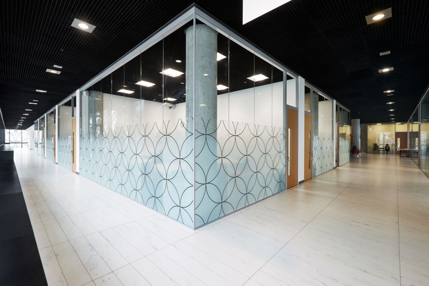 Glass classrooms with privacy detailing in Birmingham Library