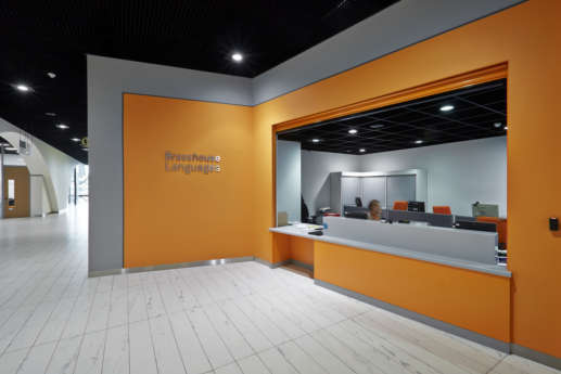 Open plan orange office reception