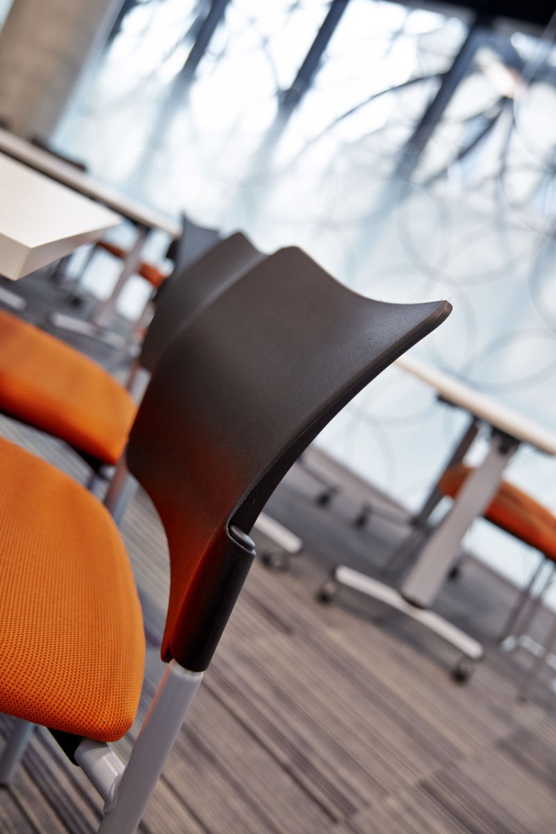 Close-up of designer office chair