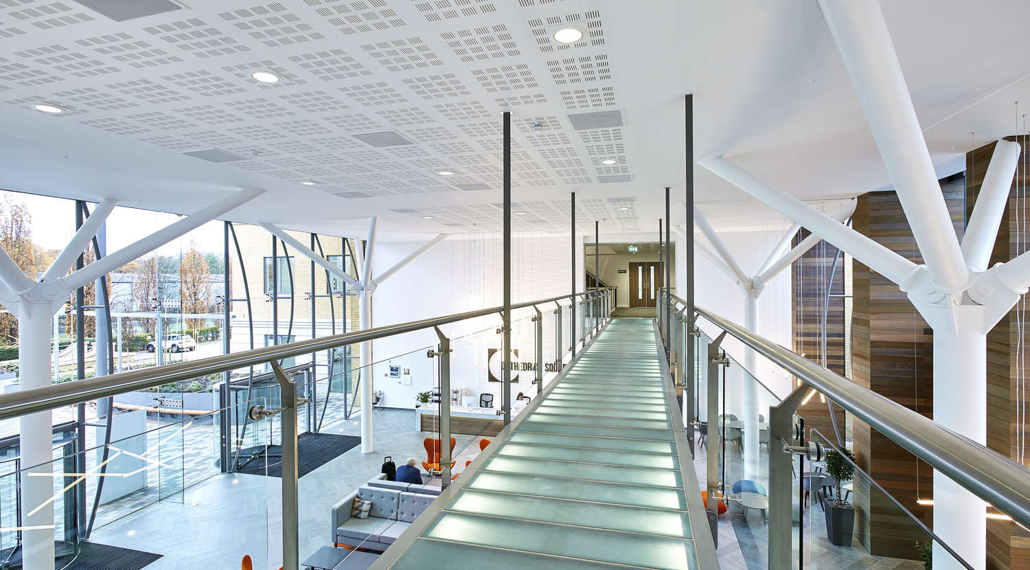 Suspended walkway in modern office fit out