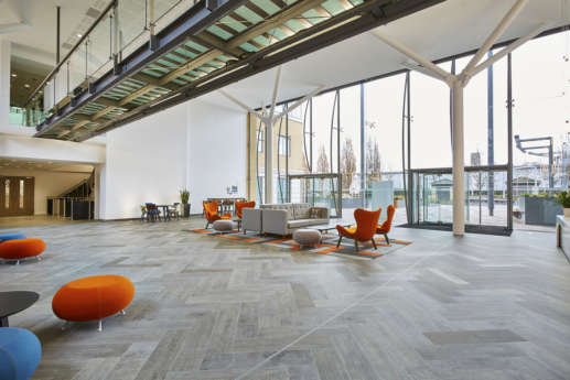 Modern seating in communal office building reception