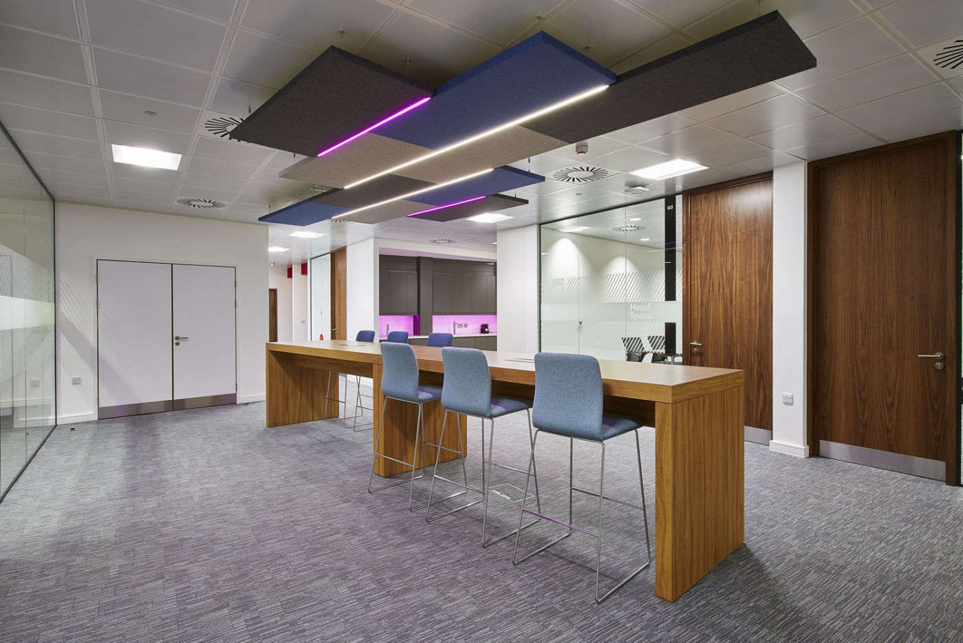 Purple light feature in Goodyear office fit out