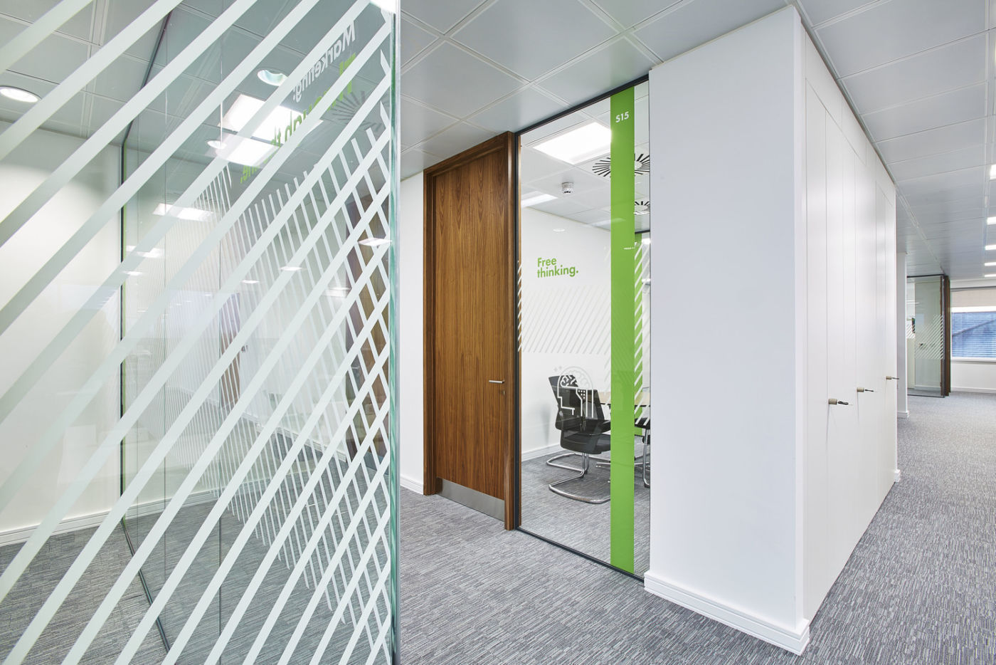 Textured glass meeting room