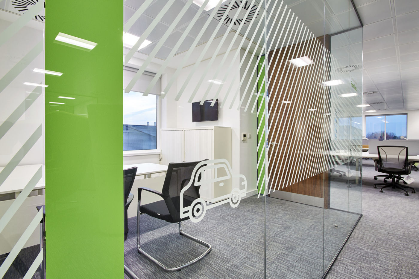 Icons on meeting room glass wall