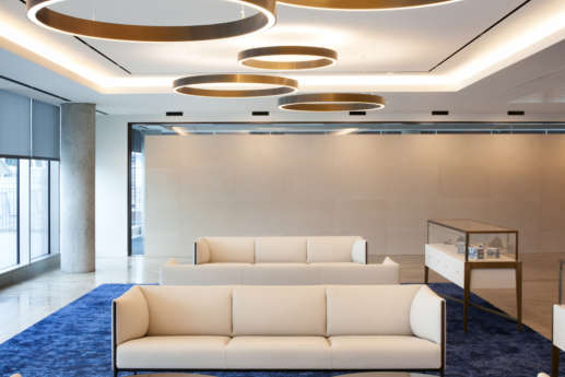 Suspended light fittings in modern ING office, London