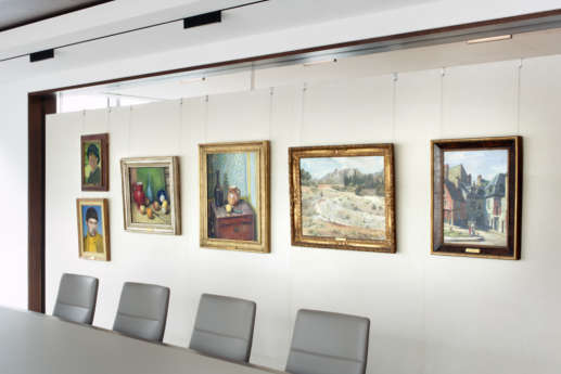 Boardroom with hanging artworks