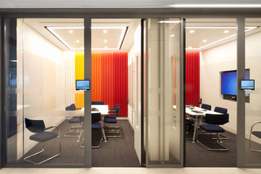 Side view of bright meeting rooms