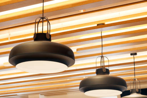 Designer light fittings in modern office fit out