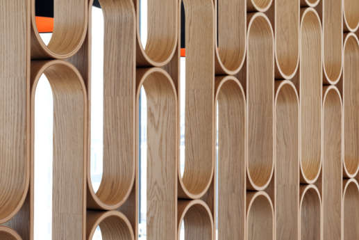 Retro wooden room divider at ING in London