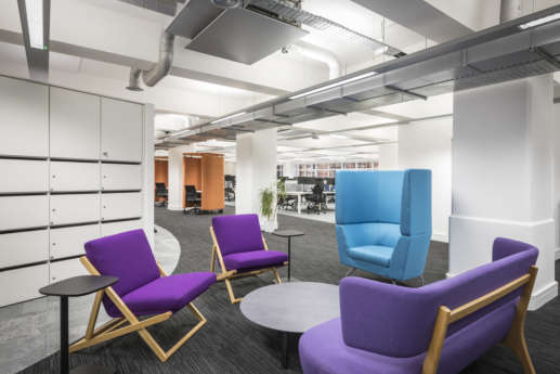 Relaxed and colourful furniture in Manchester office